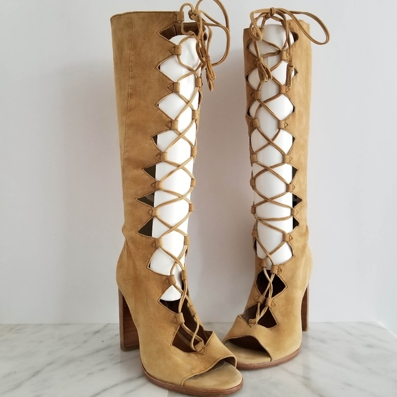 f76a3b90aef Frye Shoes - FRYE Gabby Ghillie Tall Boots Tan Suede Lace Up